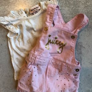 Juicy Couture Overall Two Piece Set, 6-9 Months